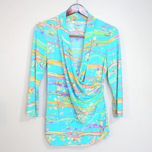 vtg bright abstract stretchy cowl neck blouse